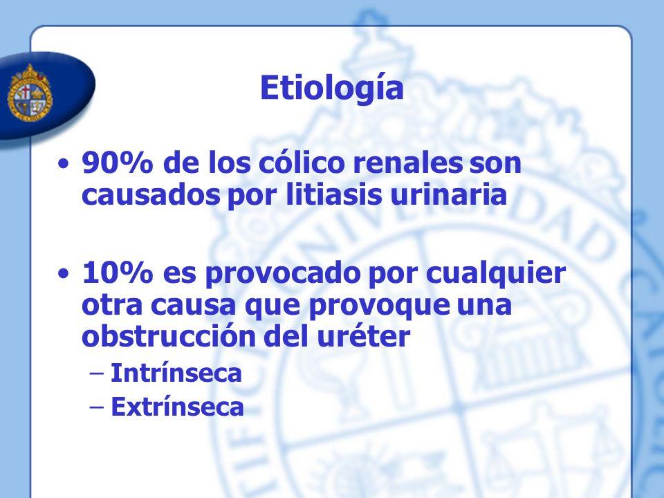 Etiología 90% de los cólico renales son causados por litiasis urinaria 10% es provocado por cualquier otra causa que provoque una obstrucción del urét