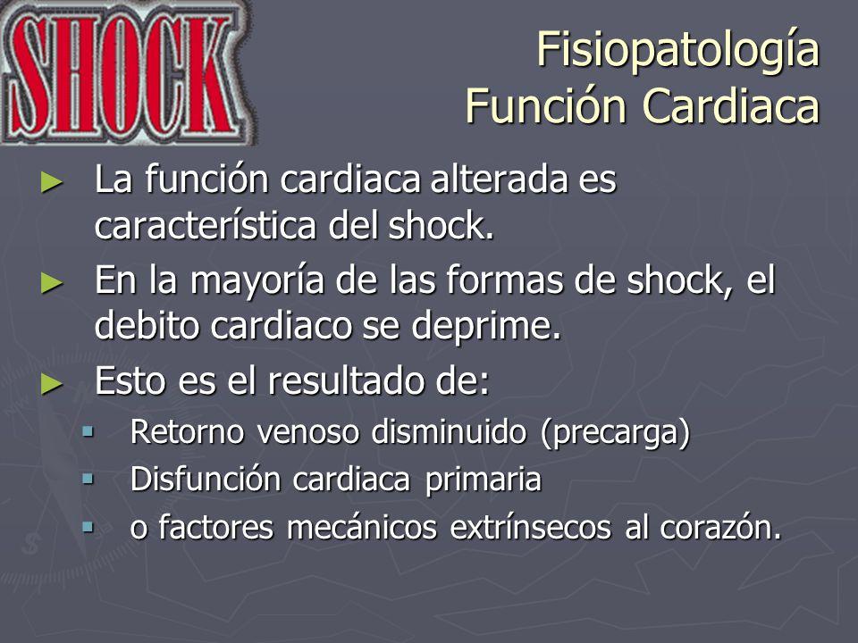 Fisiopatología Función Cardiaca La función cardiaca alterada es característica del shock. La función cardiaca alterada es característica del shock. En
