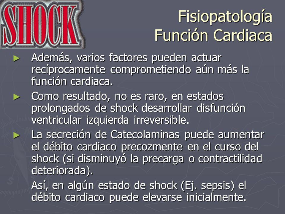 Fisiopatología Función Cardiaca Además, varios factores pueden actuar recíprocamente comprometiendo aún más la función cardiaca. Además, varios factor