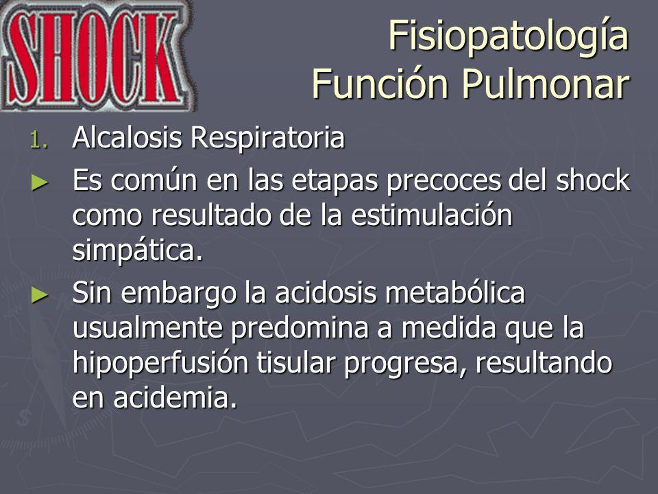 Fisiopatología Función Pulmonar 1. Alcalosis Respiratoria Es común en las etapas precoces del shock como resultado de la estimulación simpática. Es co