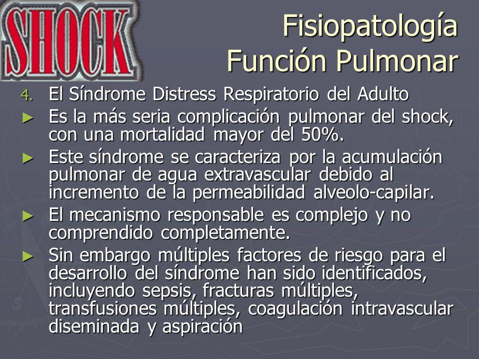 Fisiopatología Función Pulmonar 4. El Síndrome Distress Respiratorio del Adulto Es la más seria complicación pulmonar del shock, con una mortalidad ma