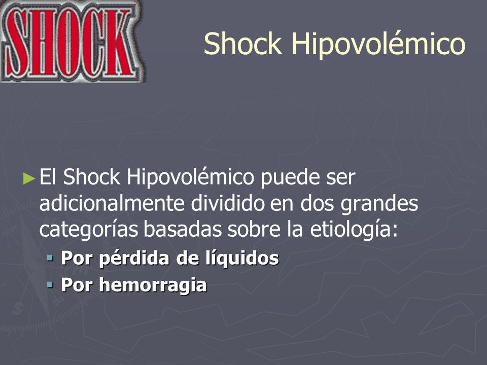 Shock Hipovolémico El Shock Hipovolémico puede ser adicionalmente dividido en dos grandes categorías basadas sobre la etiología: Por pérdida de líquid