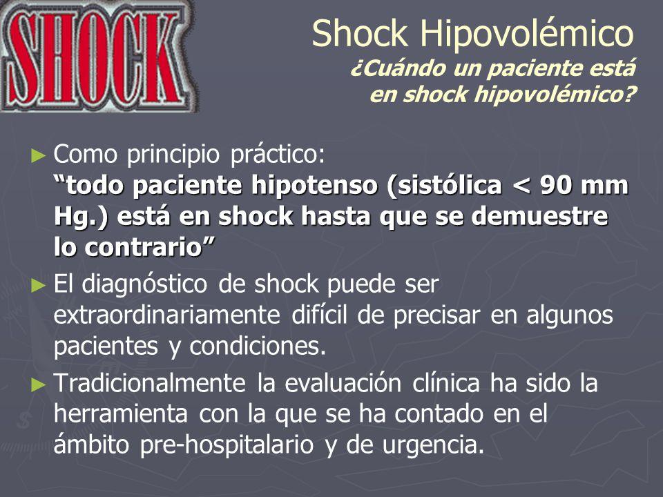Shock Hipovolémico ¿Cuándo un paciente está en shock hipovolémico? todo paciente hipotenso (sistólica < 90 mm Hg.) está en shock hasta que se demuestr