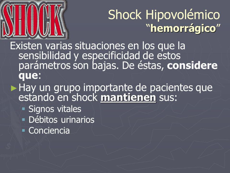 hemorrágico Shock Hipovolémicohemorrágico Existen varias situaciones en los que la sensibilidad y especificidad de estos parámetros son bajas. De ésta