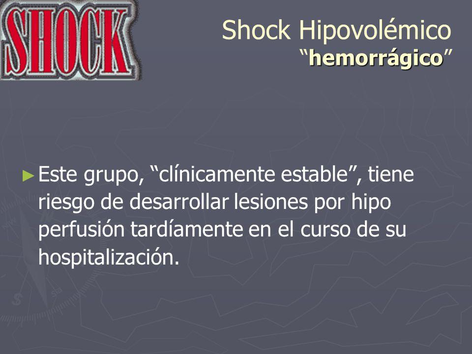 hemorrágico Shock Hipovolémicohemorrágico Este grupo, clínicamente estable, tiene riesgo de desarrollar lesiones por hipo perfusión tardíamente en el