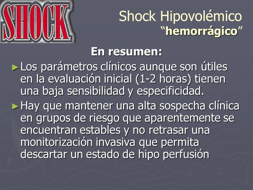 hemorrágico Shock Hipovolémicohemorrágico En resumen: Los parámetros clínicos aunque son útiles en la evaluación inicial (1-2 horas) tienen una baja s