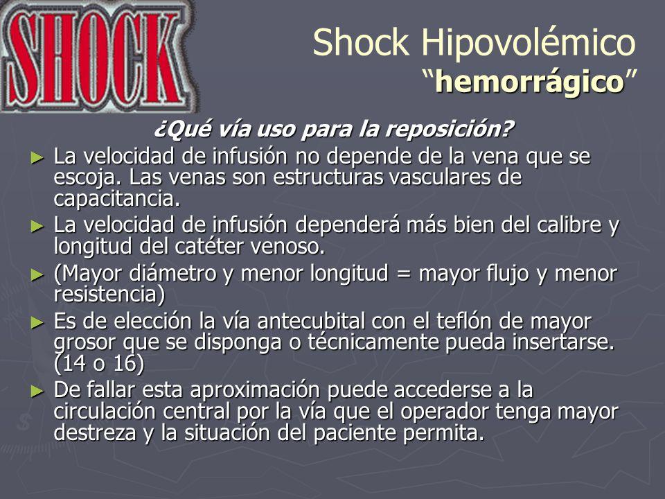 hemorrágico Shock Hipovolémicohemorrágico ¿Qué vía uso para la reposición? La velocidad de infusión no depende de la vena que se escoja. Las venas son