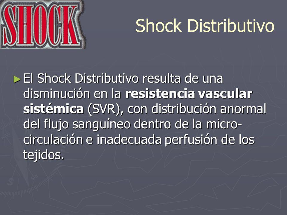 Shock Distributivo El Shock Distributivo resulta de una disminución en la resistencia vascular sistémica (SVR), con distribución anormal del flujo san