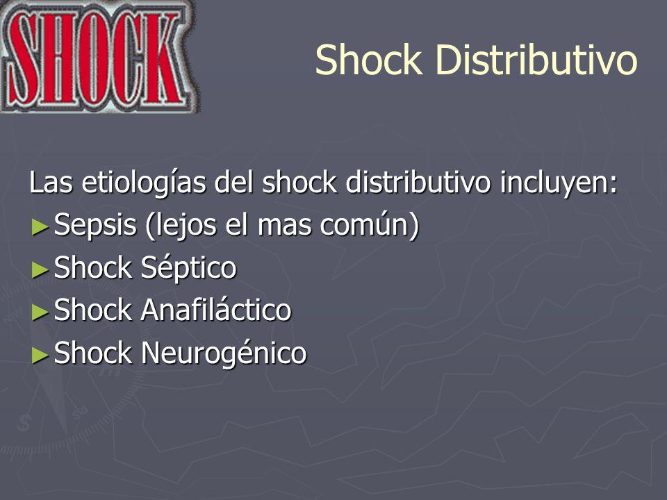 Shock Distributivo Las etiologías del shock distributivo incluyen: Sepsis (lejos el mas común) Sepsis (lejos el mas común) Shock Séptico Shock Séptico