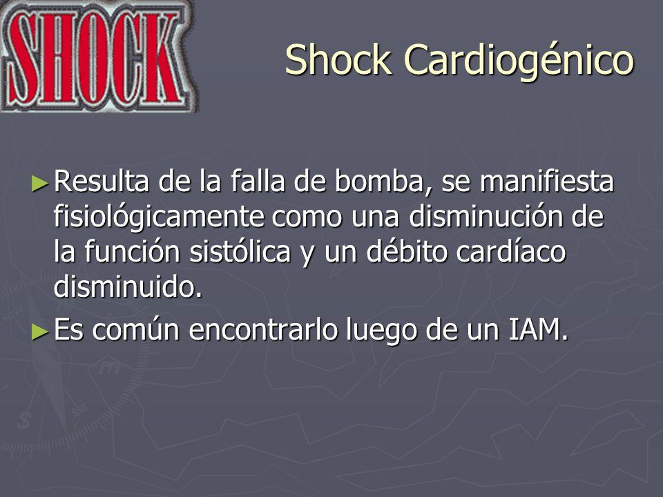 Shock Cardiogénico Resulta de la falla de bomba, se manifiesta fisiológicamente como una disminución de la función sistólica y un débito cardíaco dism