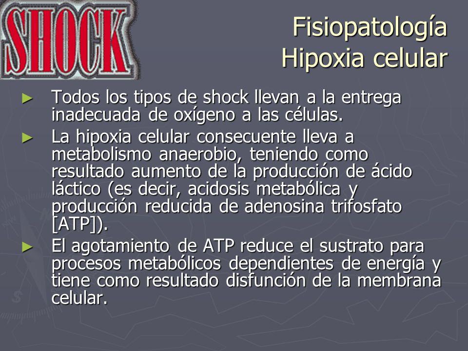 Fisiopatología Hipoxia celular La liberación de enzimas lisosomales puede contribuir también a daño de la membrana y proteolisis.