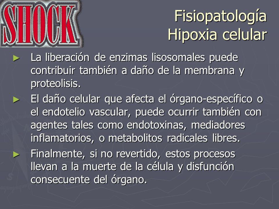 Fisiopatología Hipoxia celular La liberación de enzimas lisosomales puede contribuir también a daño de la membrana y proteolisis. La liberación de enz