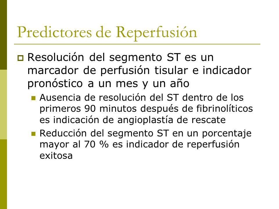 Predictores de Reperfusión Resolución del segmento ST es un marcador de perfusión tisular e indicador pronóstico a un mes y un año Ausencia de resoluc