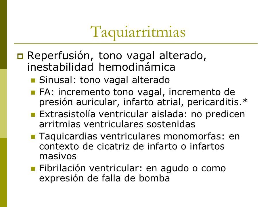 Taquiarritmias Reperfusión, tono vagal alterado, inestabilidad hemodinámica Sinusal: tono vagal alterado FA: incremento tono vagal, incremento de pres