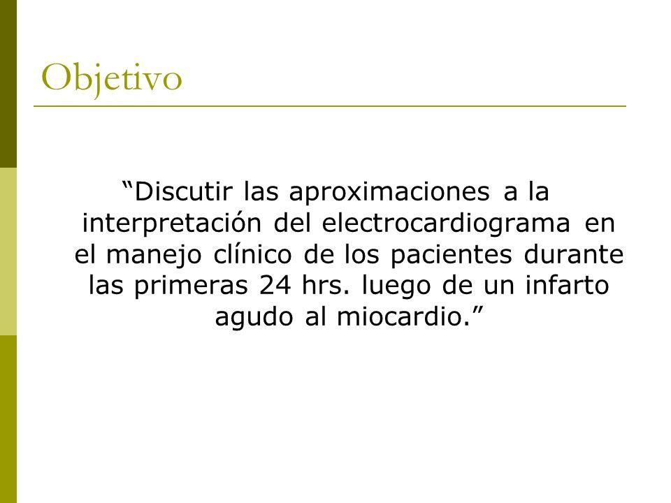 Objetivo Discutir las aproximaciones a la interpretación del electrocardiograma en el manejo clínico de los pacientes durante las primeras 24 hrs. lue