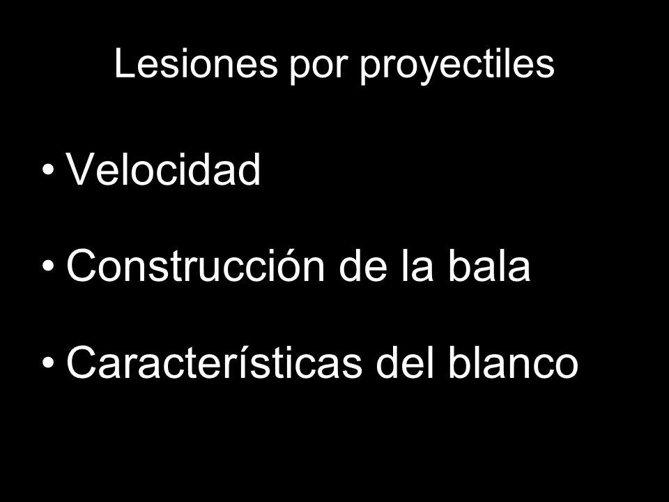 Lesiones por proyectiles Velocidad Construcción de la bala Características del blanco