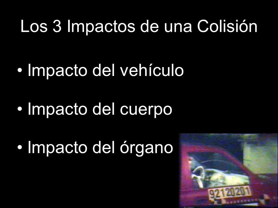 Los 3 Impactos de una Colisión Impacto del vehículo Impacto del cuerpo Impacto del órgano