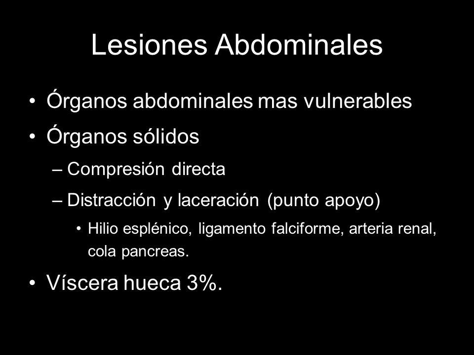 Lesiones Abdominales Órganos abdominales mas vulnerables Órganos sólidos –Compresión directa –Distracción y laceración (punto apoyo) Hilio esplénico,