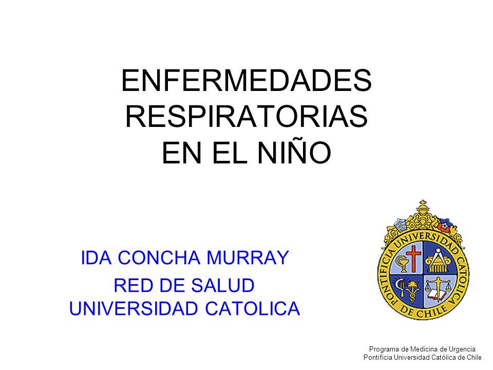 Consecuencias Una relativa pequeña disminución de la vía aérea produce un aumento considerable de la Resistencia al flujo aéreo y del trabajo respiratorio HIPOXEMIA Programa de Medicina de Urgencia Pontificia Universidad Católica de Chile