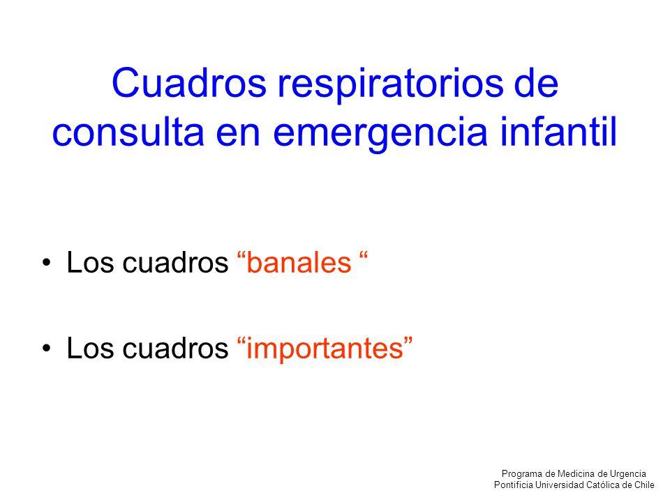 Cuadros respiratorios de consulta en emergencia infantil Los cuadros banales Los cuadros importantes Programa de Medicina de Urgencia Pontificia Unive