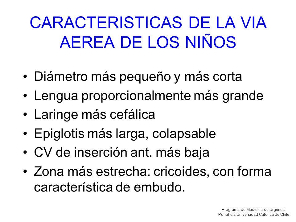 CARACTERISTICAS DE LA VIA AEREA DE LOS NIÑOS Diámetro más pequeño y más corta Lengua proporcionalmente más grande Laringe más cefálica Epiglotis más l