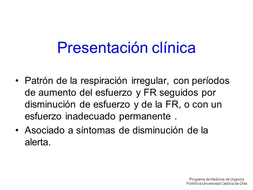 Presentación clínica Patrón de la respiración irregular, con períodos de aumento del esfuerzo y FR seguidos por disminución de esfuerzo y de la FR, o