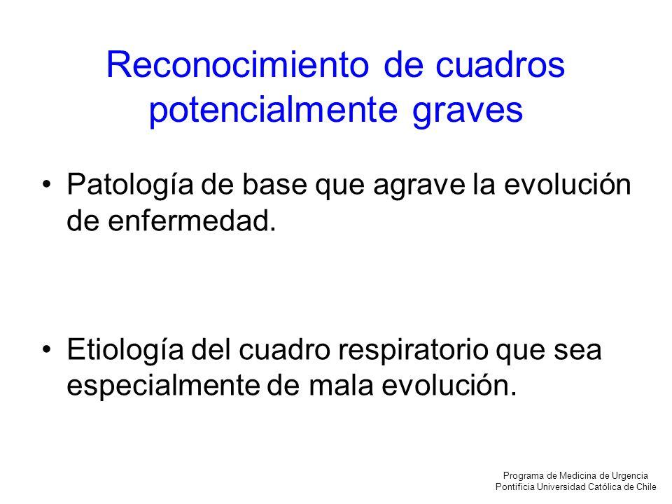 Reconocimiento de cuadros potencialmente graves Patología de base que agrave la evolución de enfermedad. Etiología del cuadro respiratorio que sea esp