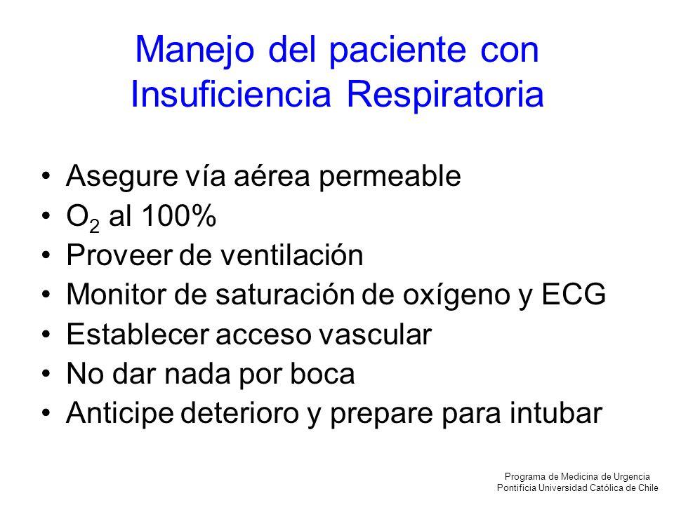 Manejo del paciente con Insuficiencia Respiratoria Asegure vía aérea permeable O 2 al 100% Proveer de ventilación Monitor de saturación de oxígeno y E