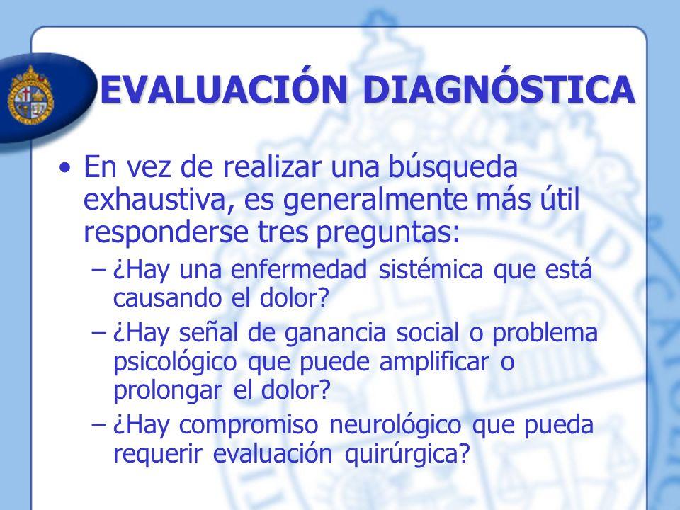 EVALUACIÓN DIAGNÓSTICA En vez de realizar una búsqueda exhaustiva, es generalmente más útil responderse tres preguntas: –¿Hay una enfermedad sistémica