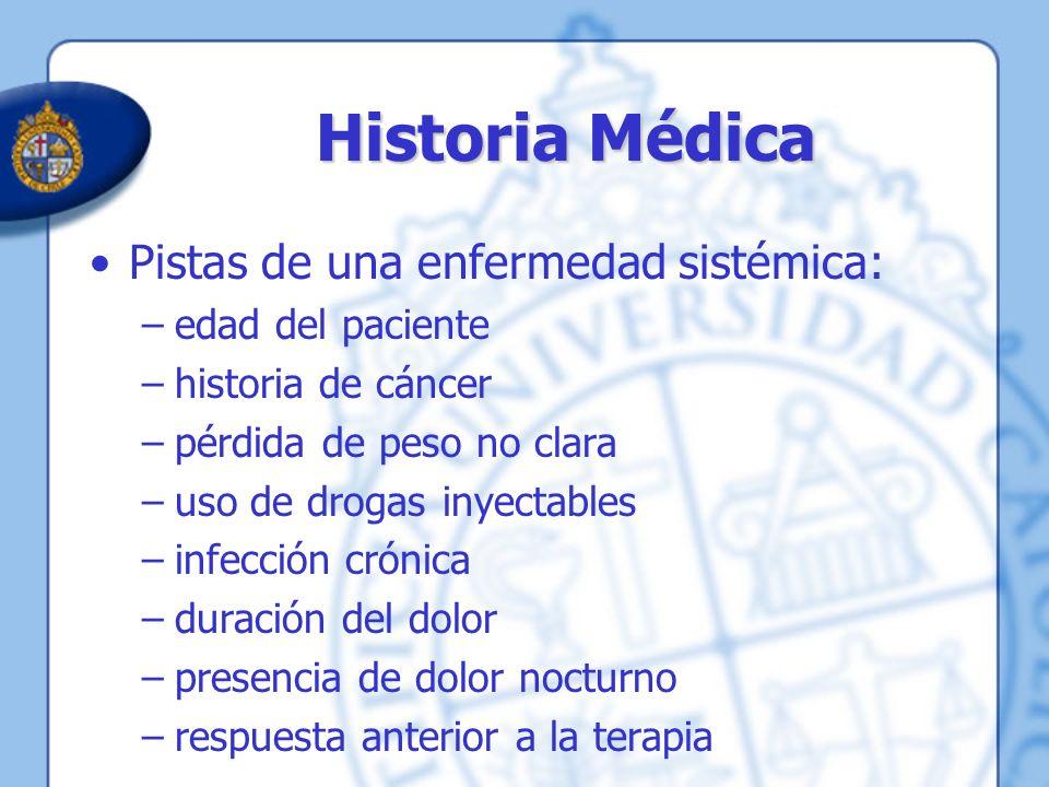 Historia Médica Pistas de una enfermedad sistémica: –edad del paciente –historia de cáncer –pérdida de peso no clara –uso de drogas inyectables –infec