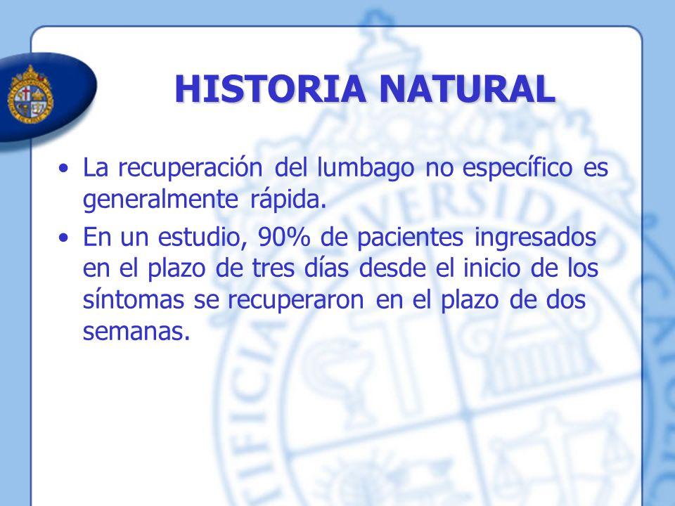 HISTORIA NATURAL La recuperación del lumbago no específico es generalmente rápida. En un estudio, 90% de pacientes ingresados en el plazo de tres días