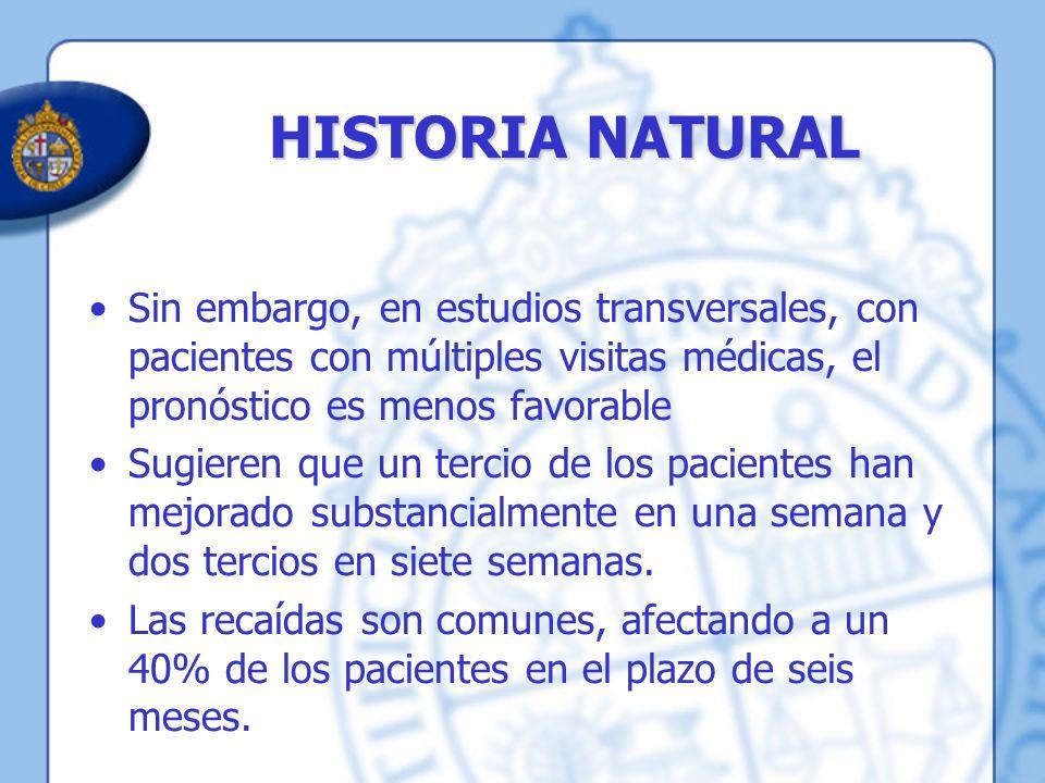 HISTORIA NATURAL Sin embargo, en estudios transversales, con pacientes con múltiples visitas médicas, el pronóstico es menos favorable Sugieren que un