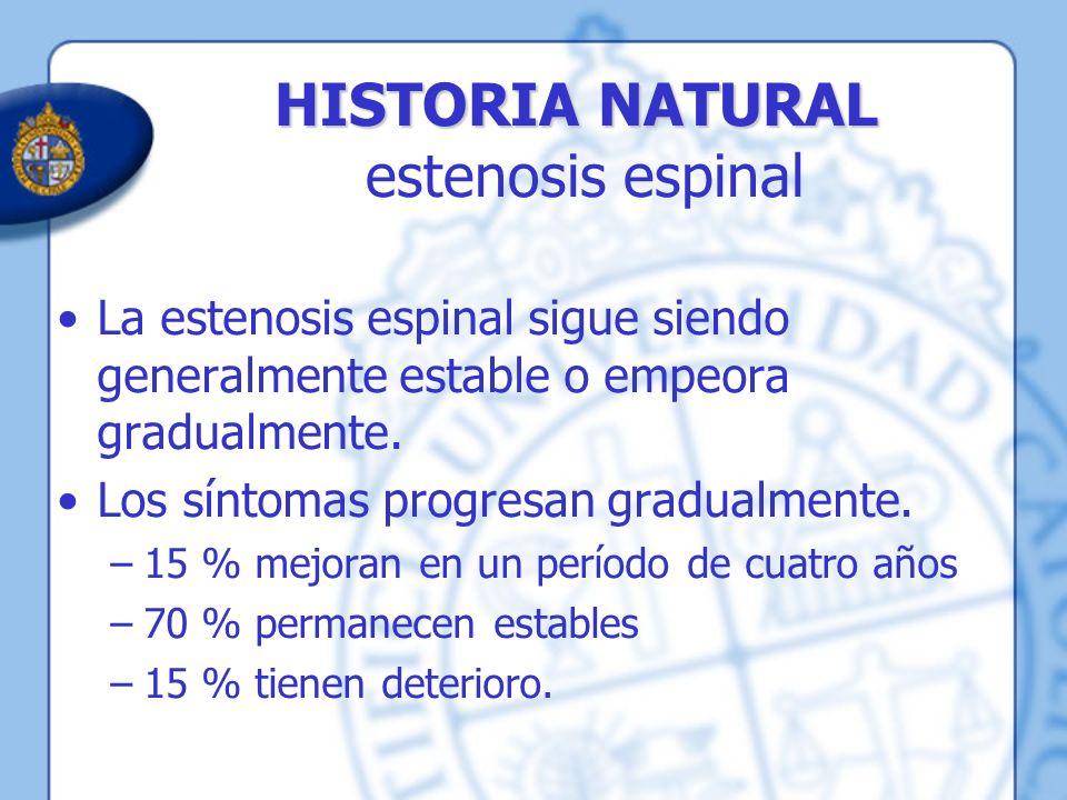 HISTORIA NATURAL HISTORIA NATURAL estenosis espinal La estenosis espinal sigue siendo generalmente estable o empeora gradualmente. Los síntomas progre