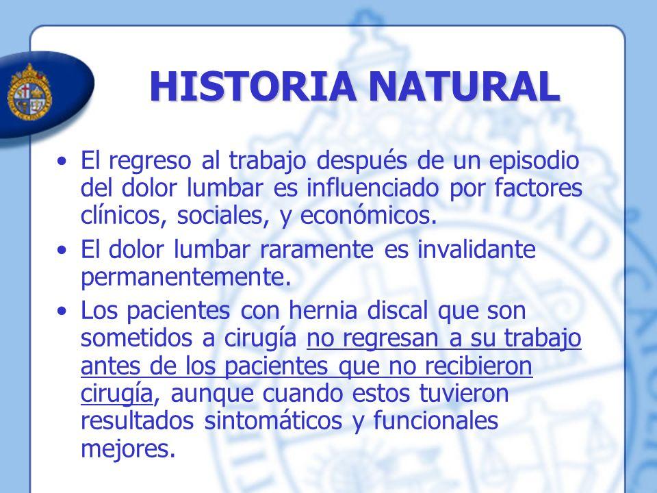 HISTORIA NATURAL El regreso al trabajo después de un episodio del dolor lumbar es influenciado por factores clínicos, sociales, y económicos. El dolor
