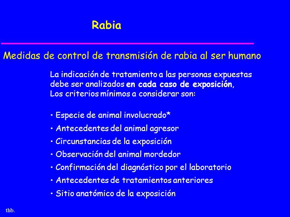 thb. Rabia Medidas de control de transmisión de rabia al ser humano La indicación de tratamiento a las personas expuestas debe ser analizados en cada