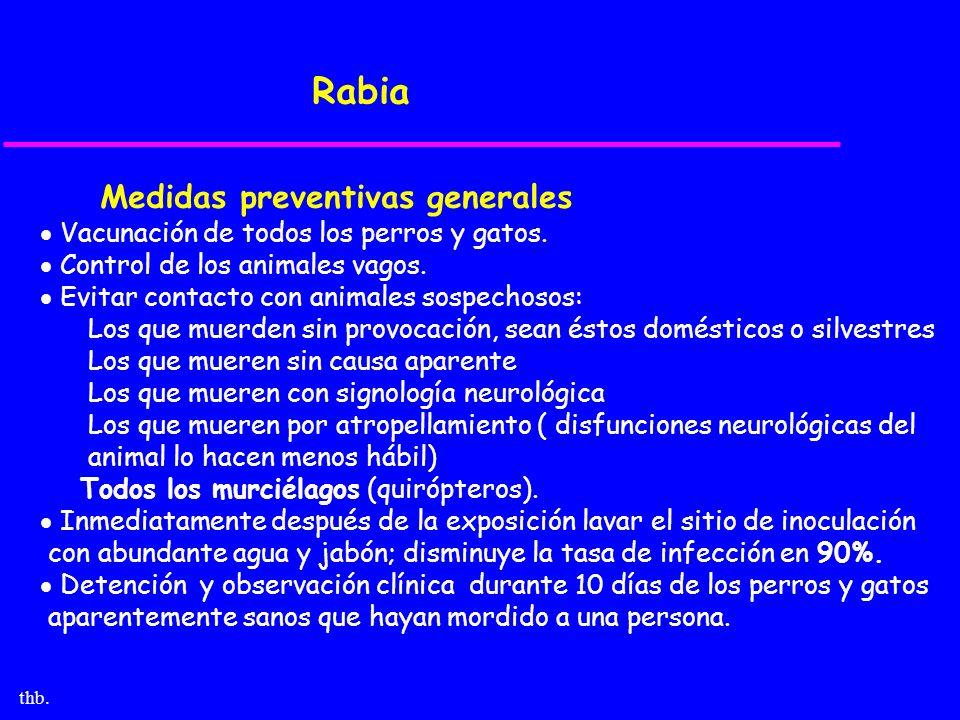 thb. Rabia Medidas preventivas generales Vacunación de todos los perros y gatos. Control de los animales vagos. Evitar contacto con animales sospechos
