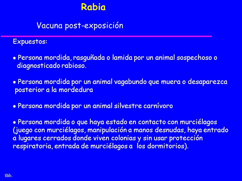 thb. Rabia Vacuna post-exposición Expuestos: Persona mordida, rasguñada o lamida por un animal sospechoso o diagnosticado rabioso. Persona mordida por