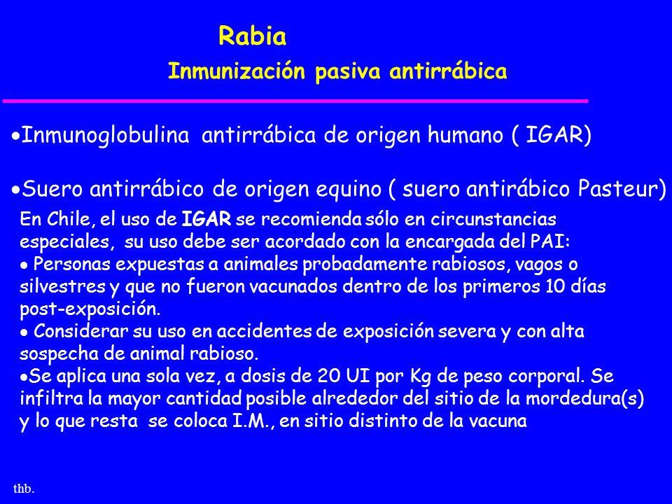 thb. Rabia Inmunización pasiva antirrábica Inmunoglobulina antirrábica de origen humano ( IGAR) Suero antirrábico de origen equino ( suero antirábico