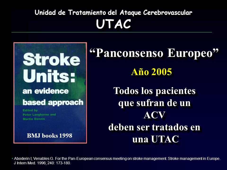 Panconsenso Europeo Todos los pacientes que sufran de un ACV deben ser tratados en una UTAC Todos los pacientes que sufran de un ACV deben ser tratado