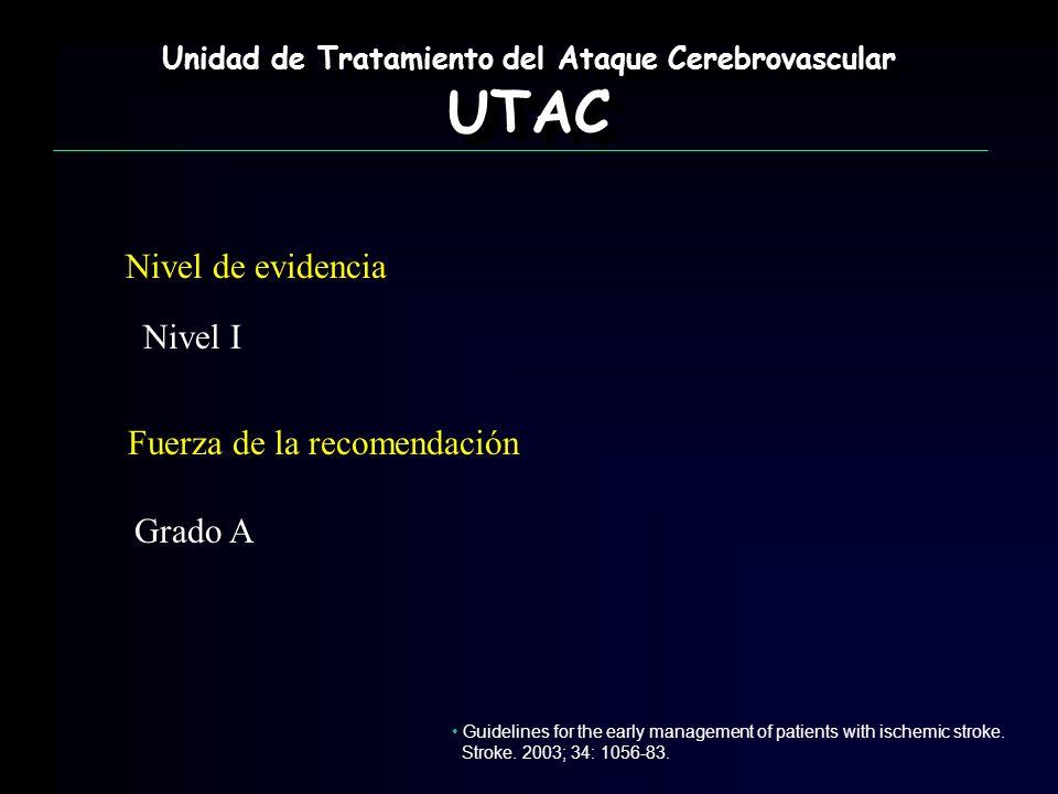 Nivel de evidencia Nivel I Fuerza de la recomendación Grado A Unidad de Tratamiento del Ataque Cerebrovascular UTAC UTAC Guidelines for the early mana
