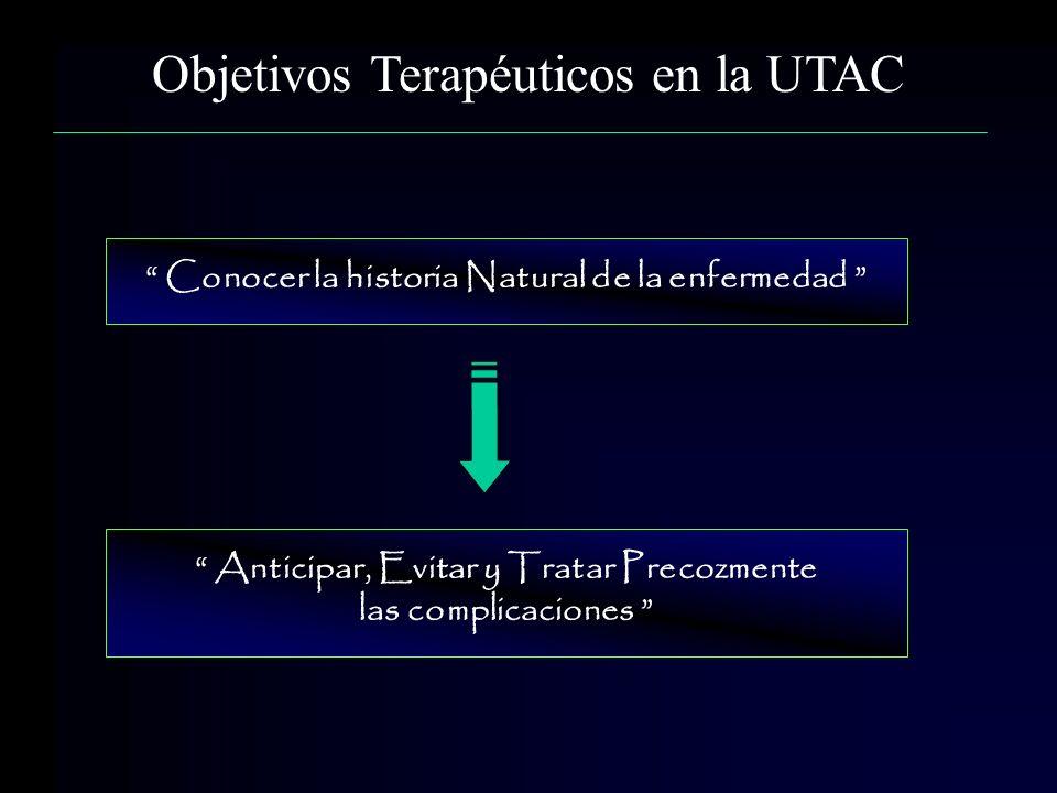 Objetivos Terapéuticos en la UTAC Conocer la historia Natural de la enfermedad Anticipar, Evitar y Tratar Precozmente las complicaciones
