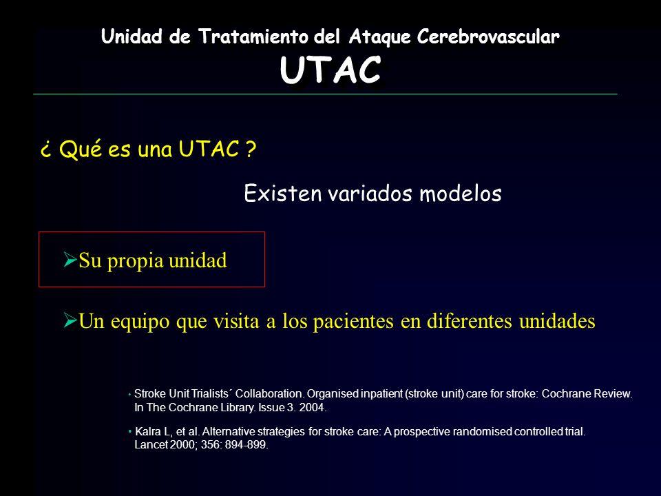 Unidad de Tratamiento del Ataque Cerebrovascular UTAC UTAC ¿ Qué es una UTAC ? Existen variados modelos Su propia unidad Un equipo que visita a los pa