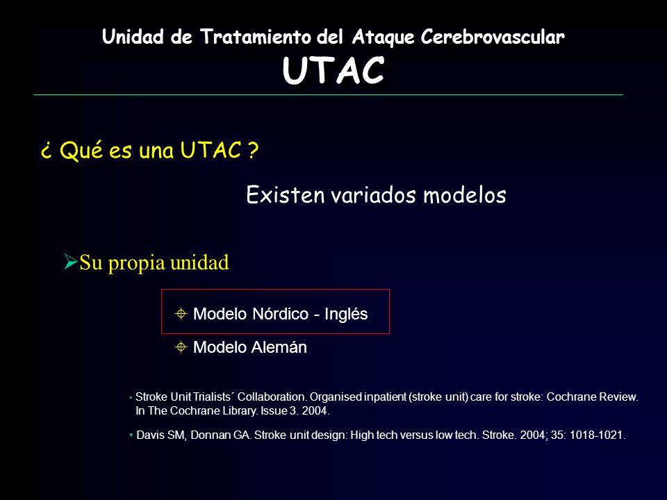Su propia unidad Unidad de Tratamiento del Ataque Cerebrovascular UTAC UTAC ¿ Qué es una UTAC ? Modelo Nórdico - Inglés Modelo Alemán Existen variados