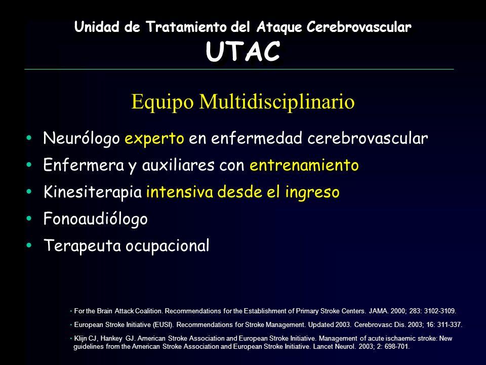 Neurólogo experto en enfermedad cerebrovascular entrenamiento Enfermera y auxiliares con entrenamiento intensivaingreso Kinesiterapia intensiva desde
