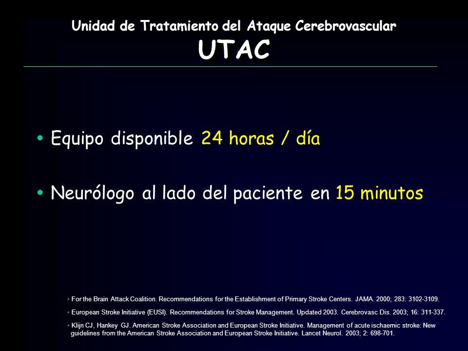 Equipo disponible 24 horas / día Neurólogo al lado del paciente en 15 minutos Unidad de Tratamiento del Ataque Cerebrovascular UTAC UTAC For the Brain