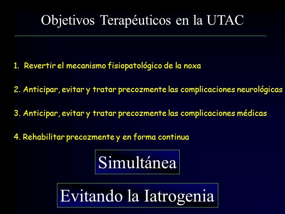 Objetivos Terapéuticos en la UTAC 1. Revertir el mecanismo fisiopatológico de la noxa 2. Anticipar, evitar y tratar precozmente las complicaciones neu