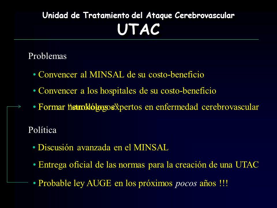 Formar neurólogos expertos en enfermedad cerebrovascular Unidad de Tratamiento del Ataque Cerebrovascular UTAC UTAC Problemas Convencer al MINSAL de s