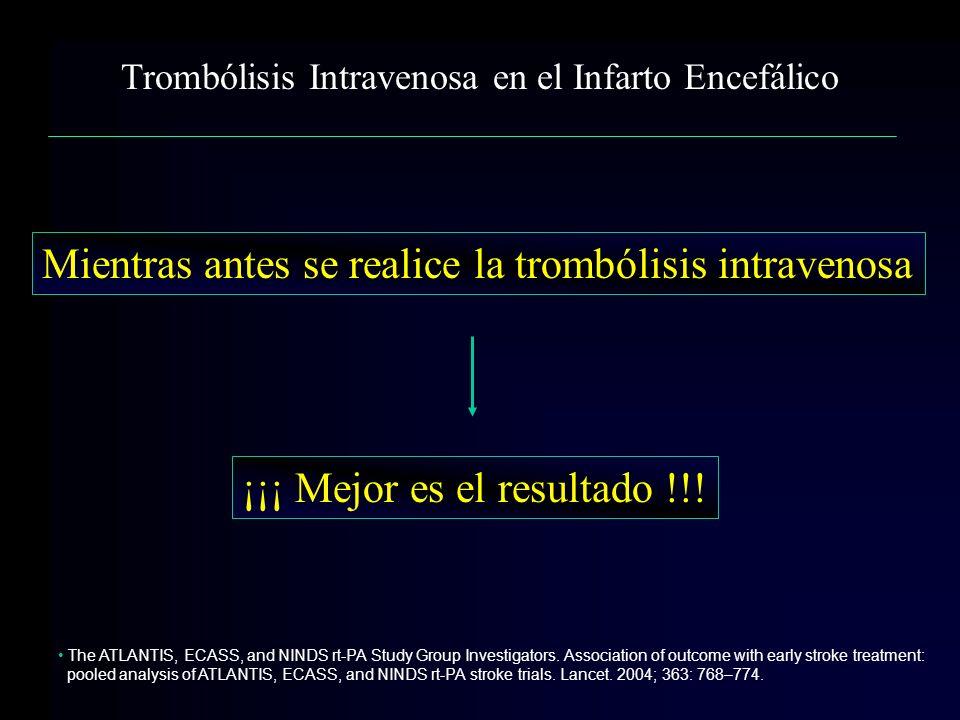 Trombólisis Intravenosa en el Infarto Encefálico Mientras antes se realice la trombólisis intravenosa ¡¡¡ Mejor es el resultado !!! The ATLANTIS, ECAS