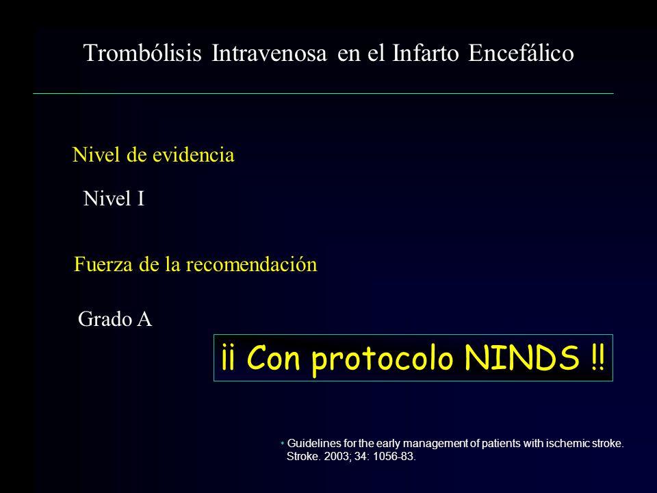 Nivel de evidencia Nivel I Fuerza de la recomendación Grado A Guidelines for the early management of patients with ischemic stroke. Stroke. 2003; 34: