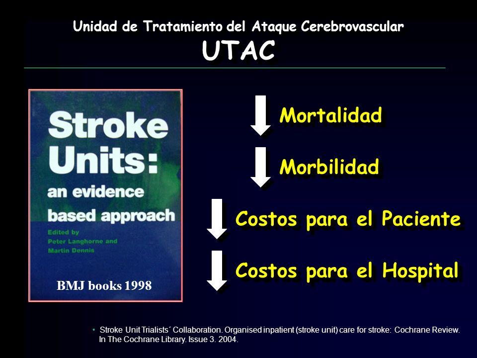 BMJ books 1998 Unidad de Tratamiento del Ataque Cerebrovascular UTAC UTAC MortalidadMortalidad MorbilidadMorbilidad Costos para el Paciente Costos par